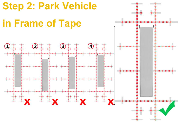Park vehicle in the frame of 360-degree dash cam tape