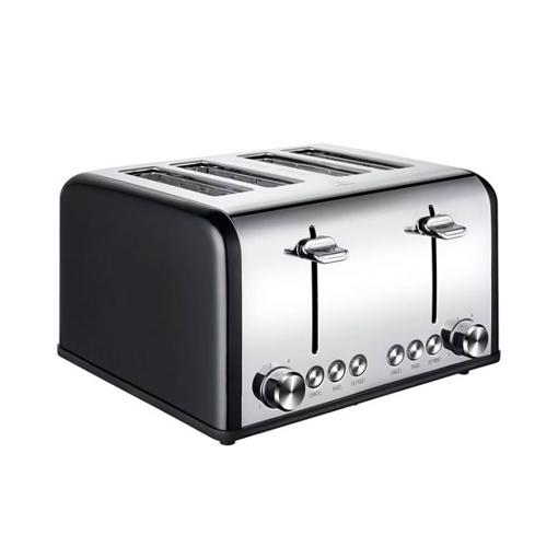 4 Slice Bread Toaster, Extra Wide Slot, Stainless Steel, Black