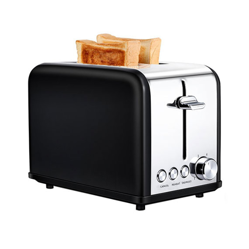 "Black 2 Slice Pop Up Toaster, 1.5"" Wide Slot, Stainless Steel"