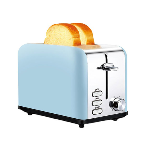 2 Slice Bread Toaster, Wide Slot, Bagel/Defrost/Cancel, Blue