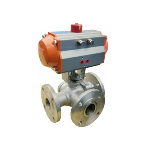 "5"" Pneumatic Flanged Ball Valve, 3 Way"