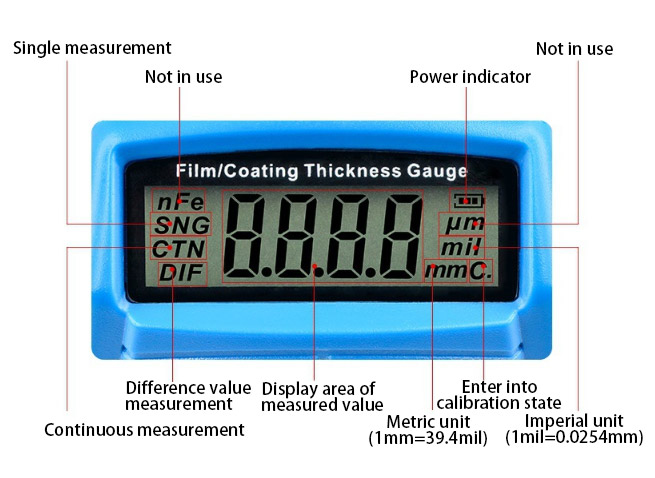 Details of 0-1800μm coating thickness gauge