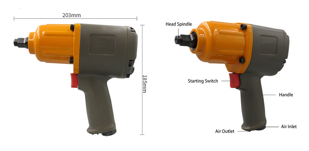 1/2 inch Air Impact Wrench 600 ft/lb Details
