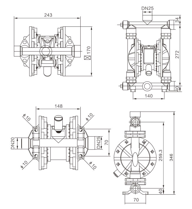 1 inch Air Operated Diaphragm Pump 15 GPM Dimension Drawing