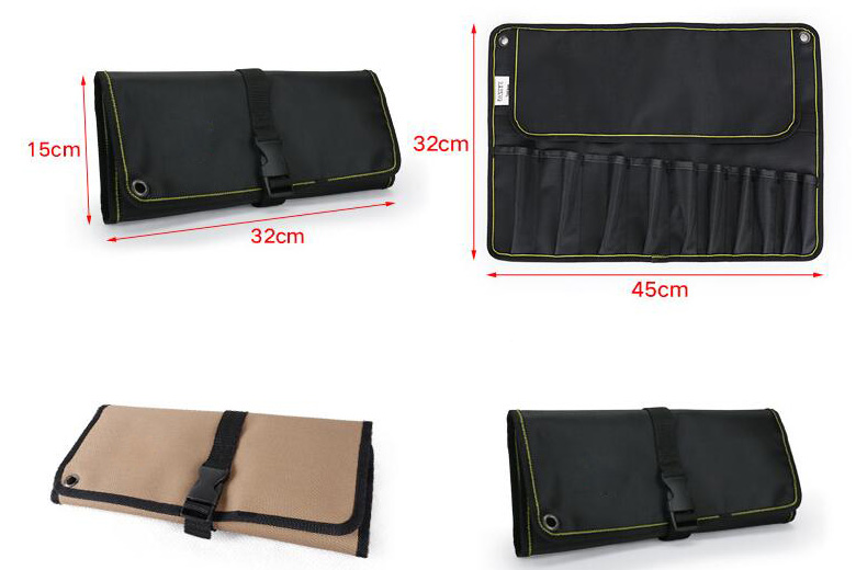 10-pocket tool roll bag color and size