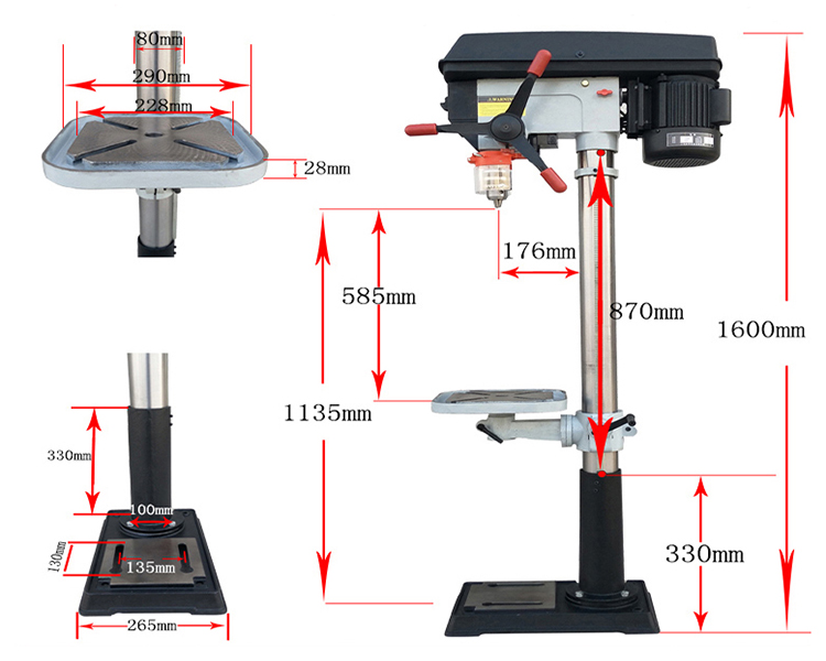 Dimension Drawing of 25mm 1200W Bench Drill Machine