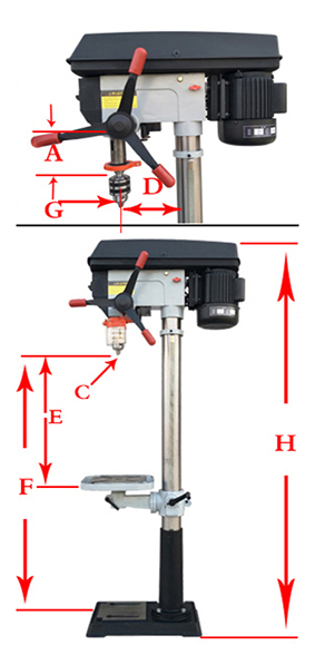 1200W 25mm Bench Drill Machine with Laser Specification Diagram