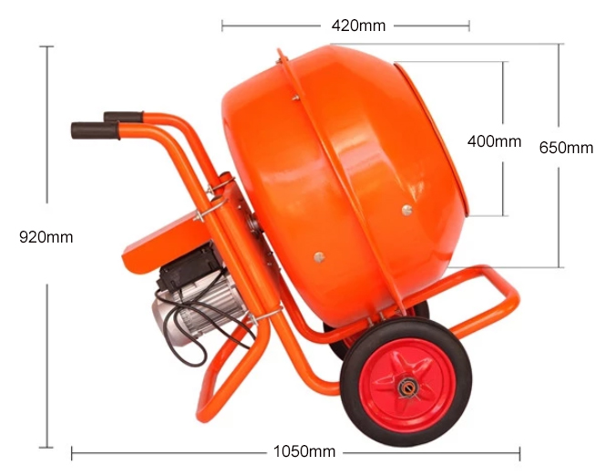 160L electric mini concrete mixer dimension