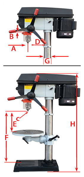 16mm 1000W Drill Press with Laser Specification Diagram