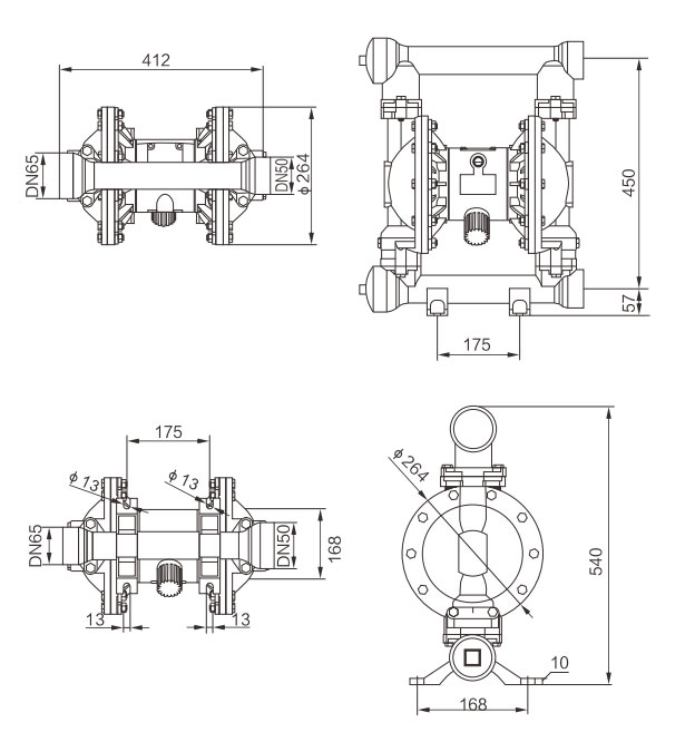 2 inch Stainless Steel Air Operated Diaphragm Pump 100 GPM Dimension Drawing