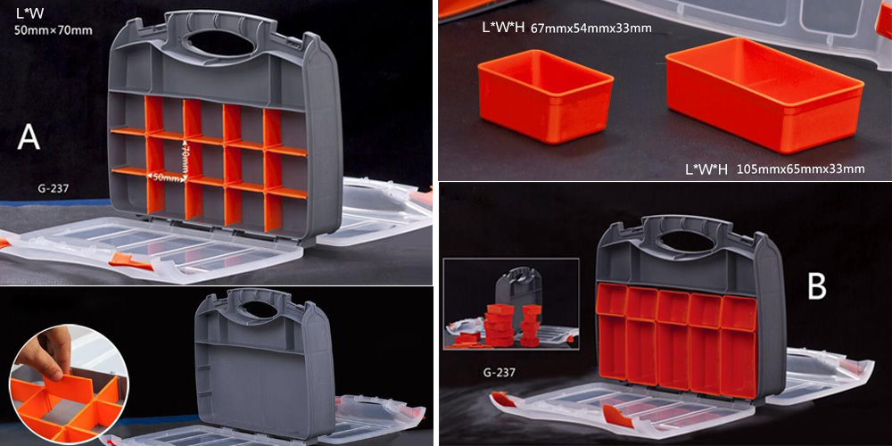 25 compartments small parts organizer box size