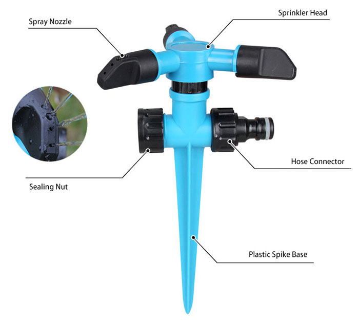 360 Degrees Automatic Rotating Spike Lawn Sprinkler Details