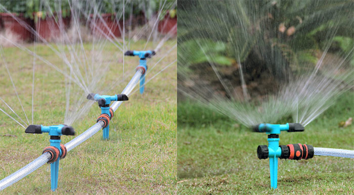 360 Degrees Rotating Spike Lawn Sprinkler Application