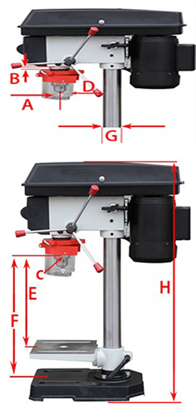 375W Bench Drill Machine Specification Diagram