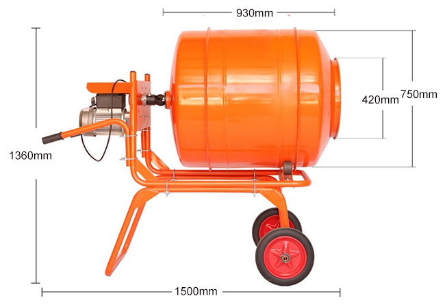400L mini electric concrete mixer machine dimension