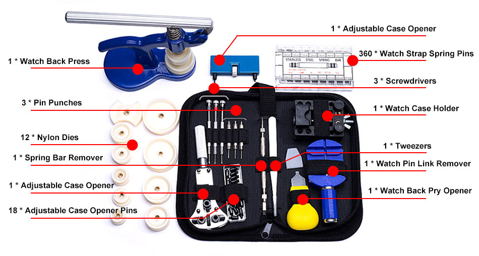 404PCS Watch Repair Tool Kit Details