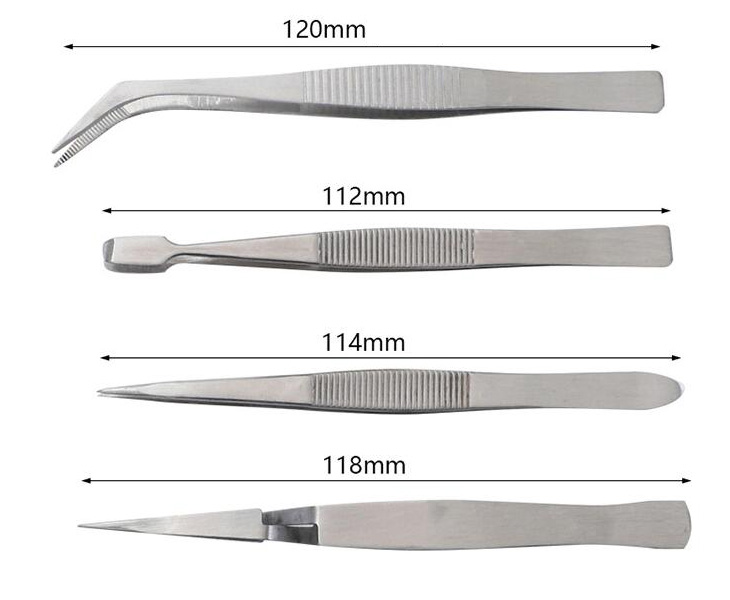 4pcs Craft Tweezers Sizes