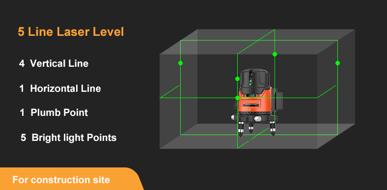 5 line rotary green laser level diagram