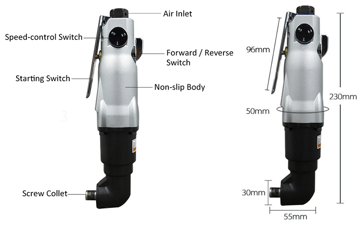 60Nm 7000rpm air screwdriver details