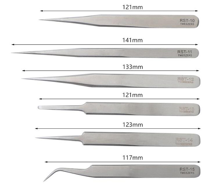 6pcs Stainless Steel Precision Tweezers Sizes