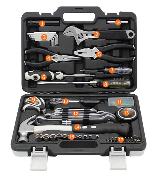 75-Piece Household Hand Tool Set Details