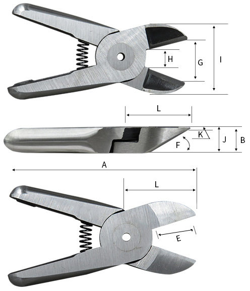 Details of air nipper which cuts 8mm soft plastic
