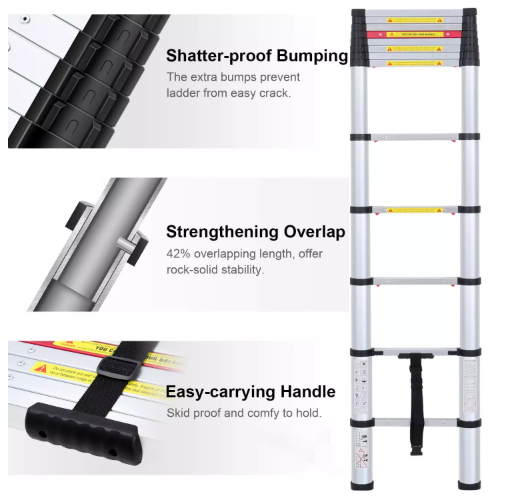 Aluminium telescoping ladder features