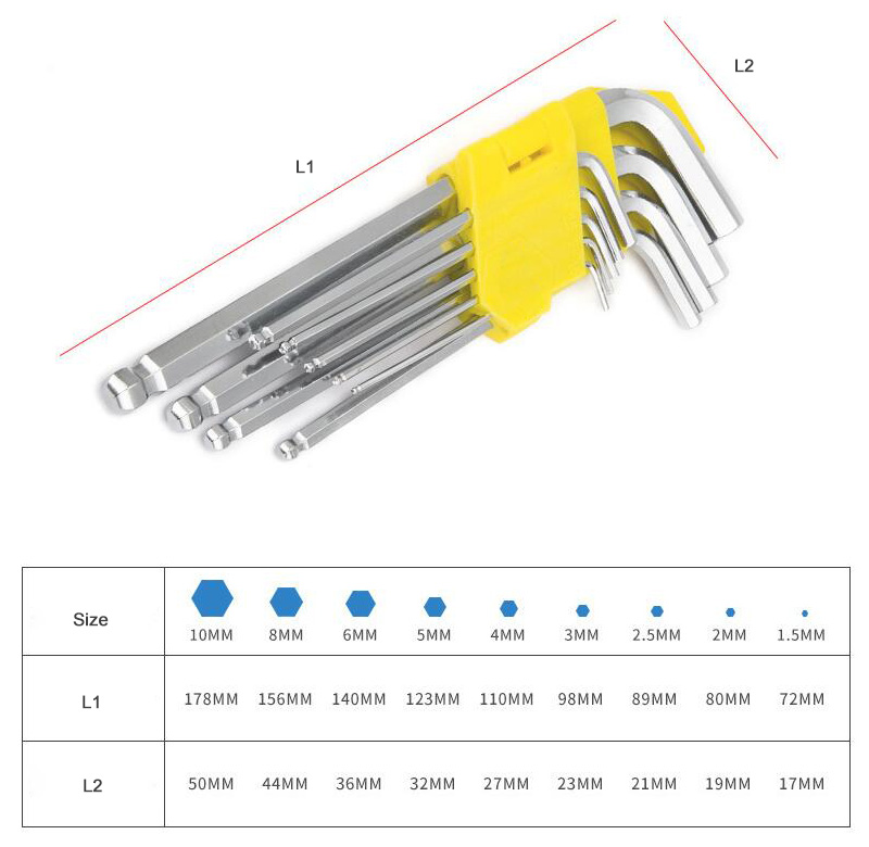 Ball End Allen Wrench Set Sizes