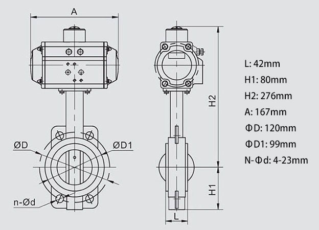 Body Dimension of 2 inch Pneumatic Actuated Wafer Type Butterfly Valve