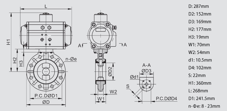 Body Dimension of 6 inch Pneumatic Actuated PVC Butterfly Valve