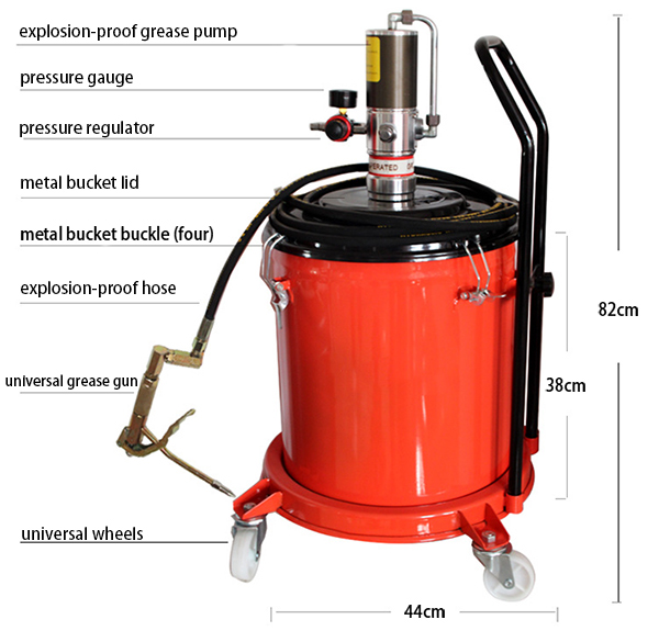 Details of 11 gallons air grease pump