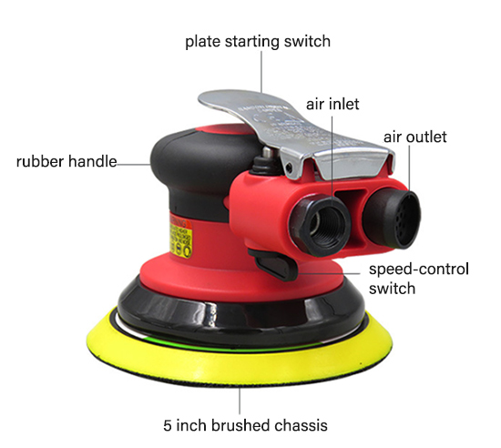 Details of 5 inch air orbital sander