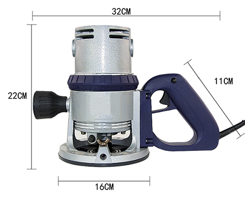 Dimension Drawing of 3/8 inch Electric Wood Router, 2.4 HP, 8.2A