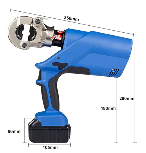 Dimension of 6 ton crimping tool