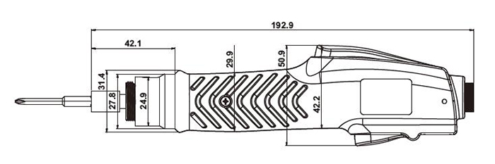 Dimension Drawing of Brushless Electric Screwdriver, Torque 1/2/3 kgf