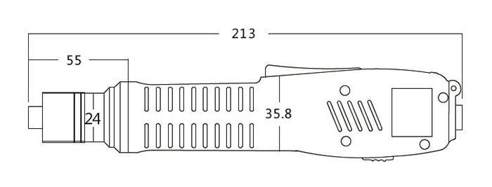 Dimension Drawing of Brushless Electric Screwdriver, Torque 10/15/20/25 kgf