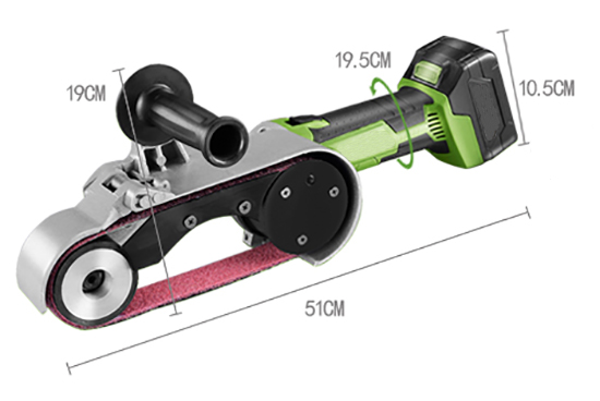 Dimension Drawing of 24 x 1.6 In Cordless Belt Sander, 21V