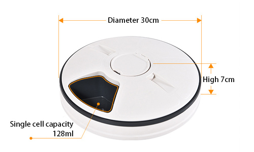6-Meal Smart Automatic Pet Feeder Dimensions