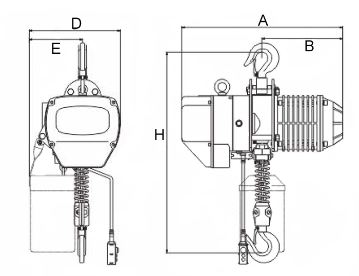 Electric chain hoist size