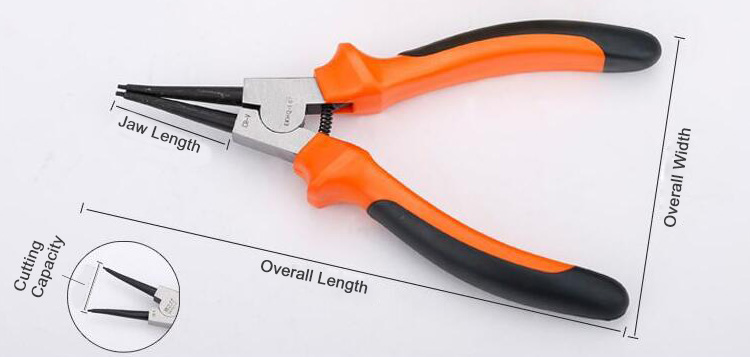 External snap ring pliers with straignt tip dimension drawing