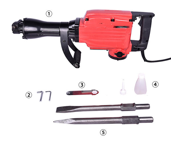 Full Configuration of Demolition Hammer, 1.7/1.6kW 7.7/7.3A
