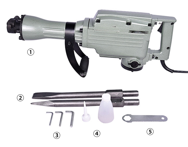 Standard Configuration of 3kW 13.6A Demolition Hammer