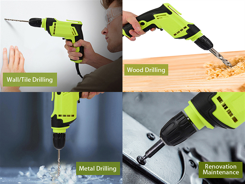 "Functions of 1-1/5"" Corded electric Drill, 2.5A"