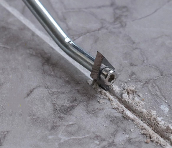 Grout removal tool 4 edges application