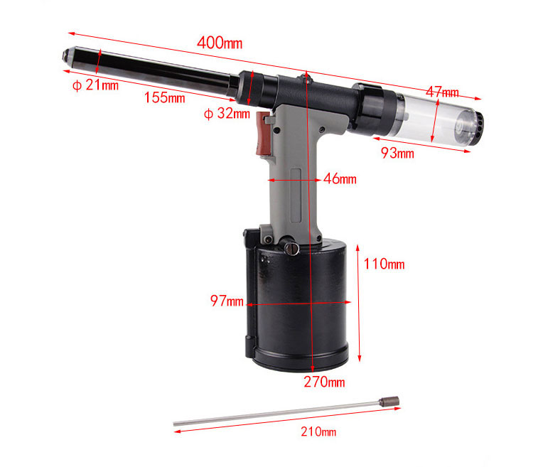 Heavy Duty Pneumatic Rivet Gun Dimension