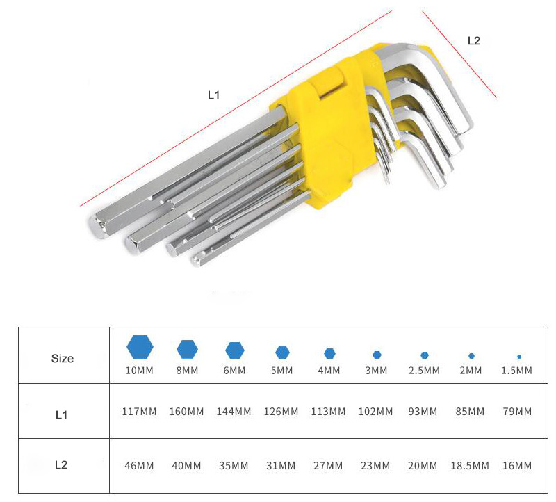 Allen Wrench Hex Key Set Sizes