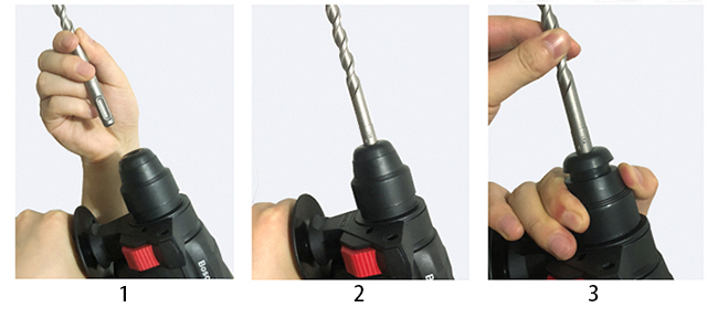Hammer Bit Installation of Rotary Hammer with SDS Drill, 800W, 26mm