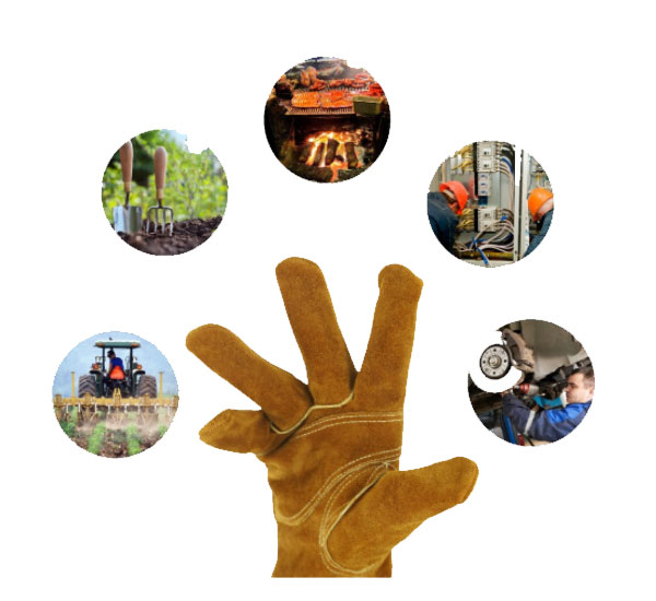 Leather gardening gloves applications