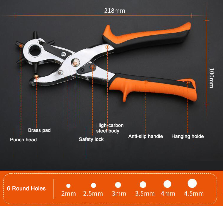 Leather Hole Punch Pliers Dimension