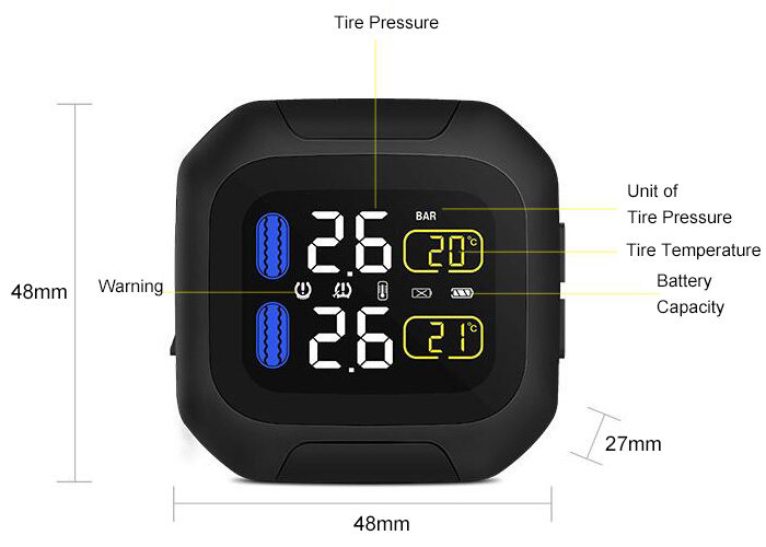 Motorcycle Tire Pressure Monitoring System Display